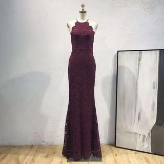 [GLAM] Lace trimmed halter neck prom dress