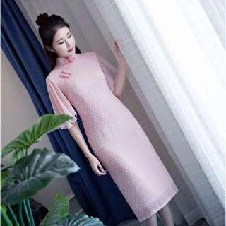 Chiffon cheongsam pink