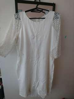 White Lace Arm Dress - Large