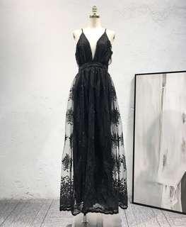 Mesh Detailed Evening Dress