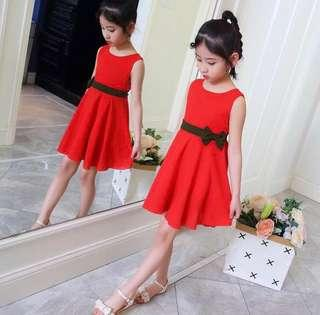 Instock sleeveless red dress with black bow at waist