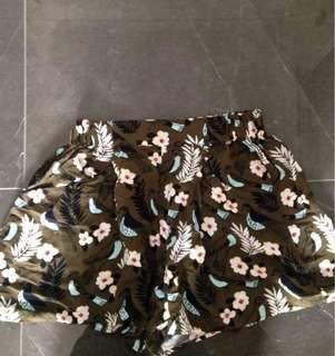 Khaki Floral Print Shorts