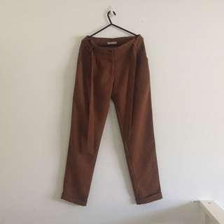 Brown/tan dress pants with fabric belt with double button up and zipper