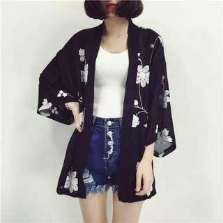 Sweet Floral Korean Style Chiffon Cardigan Outerwear