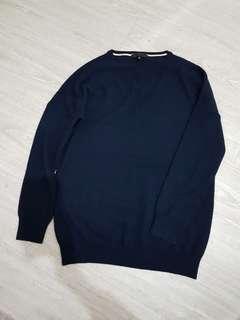 🚚 日本iCB深藍V領克什米爾羊毛上衣-S號