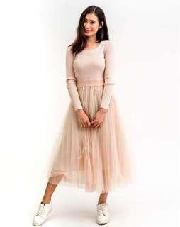 Wisteria Penny Tulle Midi Dress Cream Free Size