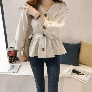 Solid Coloured V-Neck Buttons Down Longsleeves Trendy Top