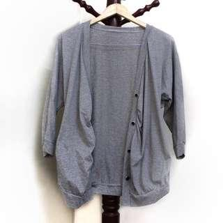 Grey Side-cinched Button Cardigan