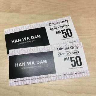 💯 [Han Wa Dam - Korean Restaurant] RM100 Dinner Cash Voucher