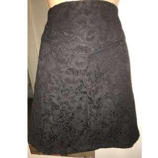BNWOT Princess Highway Mini Skirt size 10 A-line Black Jacquard Floral New Dangerfield