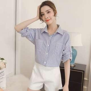 Stripes With Pockets Korean Style Foldable Sleeves Top