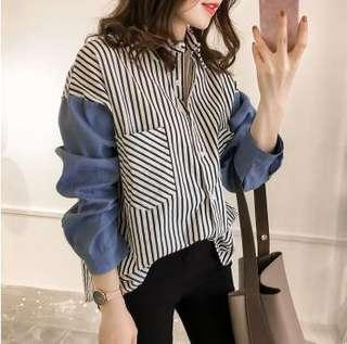 Stripes With Blue Sleeves Pockets Collared Shirt Top