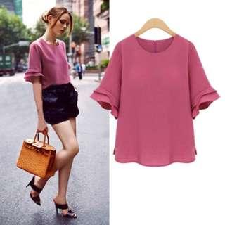 Pastel Coloured With Ruffled Sleeves Trendy Top