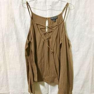 Forever 21 Plus Size 0XL Brown Lace-up Top with Long Sleeves