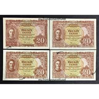 Malaya 1941 20 cents variety abc