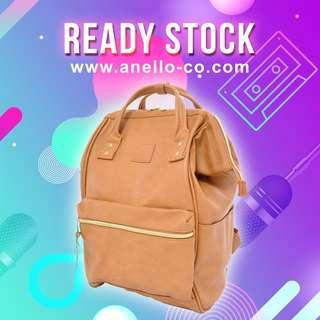 【Ready Stock】 Anello Synthetic Leather Mouthpiece Backpack (Camel Beige) AT-B1211 | 100% Authentic