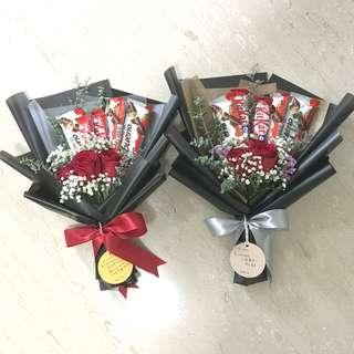 Chocolate bouquet with Fresh Red Rose / Birthday Bouquet / Graduation