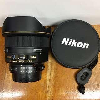Nikon AF Nikkor 14mm F2.8D ED —NEAR MINT—