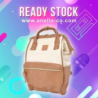 【Ready Stock】 Anello Synthetic Leather Mouthpiece Backpack (Ivory x Pink) AT-B1211 | 100% Authentic