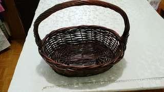 [90%新]深啡色藤製水果籃 38cm fruit Basket 野餐用 picnic