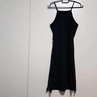 Black Halter Dress with slit