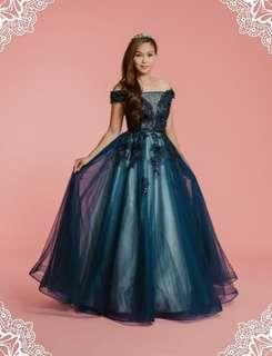 寶藍色晚裝 Elegant Navy Blue Evening Dress