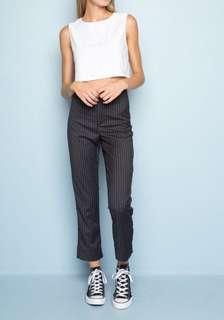 brandy melville tilden pants in grey pinstripe