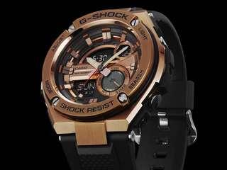 🚚 100% Authentic Casio Gsteel Rose Gold FULL STEEL HEAD G-Shock with FREE DELIVERY GST210B Gshock Steel Series