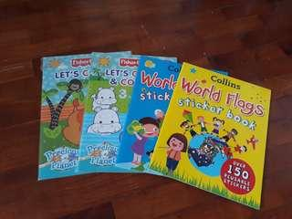 4 pcs collins & fisher price children activity books