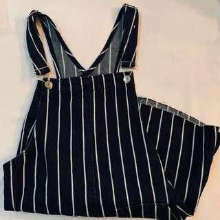BN pull & bear navy blue and white striped pinafore dress authentic