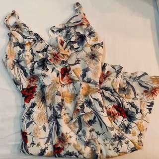 BN tem white floral mini ruffled dress authentic