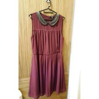 ZARA Beaded Peter Pan Collar Chiffon Dress - Size L / UK 12 / UK 14