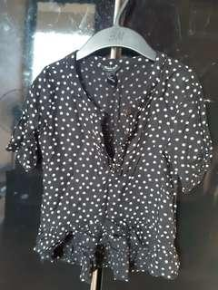 Black Polka Dot Top for Girls