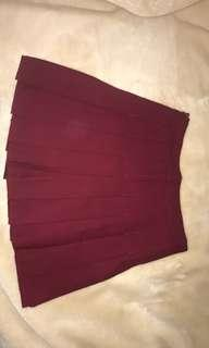 Maroon Pleated A-Line Skirt