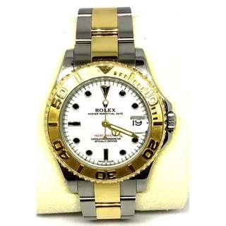 Rolex Yatch Master 35mm white face half gold watch