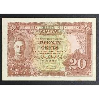 Malaya 1941 20 cents UNC with brown spots