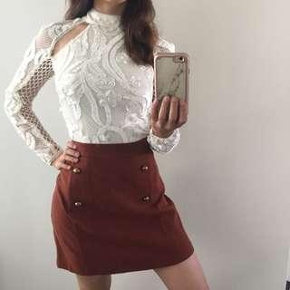 Brown Skirt With Buttons