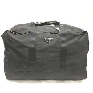 Prada Black Nylon Jacquard Hold All Travel Bag