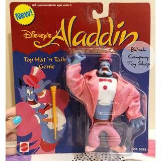 1990s Mattel 迪士尼 Disney Aladdin genie 阿拉丁 神燈 精靈 可動人偶 絕版玩具 吊卡