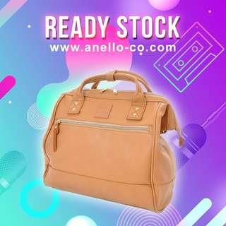 【Ready Stock】 Anello Synthetic Leather Mouthpiece Sling Bag (Camel Beige) - AT-H1022 | 100% Authentic