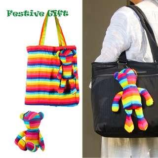 🚚 Festive Gift Suggestion: Foldable Shopping Bag in Bear (Rainbow)