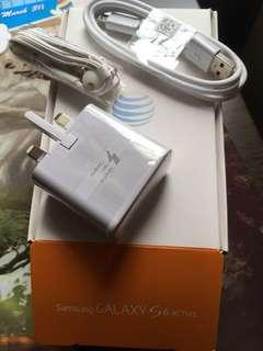 100% Samsung S6 Active 2A Fast Charger+ Cable +Earphone +Box ORIGINAL