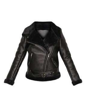 BNWT Black faux fur & leather AVIATOR JACKET!!