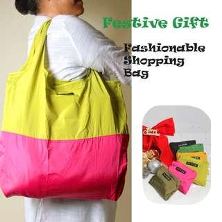 🚚 Festive Gift Suggestion: Dual colour foldable shopping bag (Green & Pick)