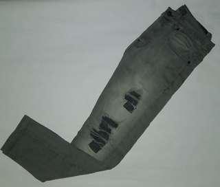 Zara Grey Skinny Ripped Jeans