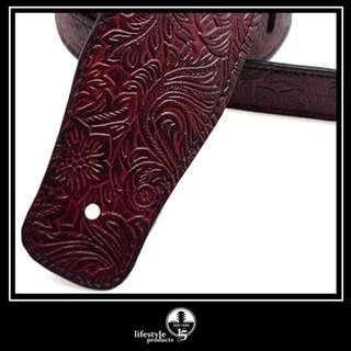 Embossed Faux Leather Guitar Strap - Scarlet Red *New . In Stock*