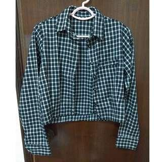 Black and white plaid long sleeved shirt