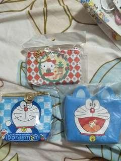 Cartoon card and coin pouch doraemon or hello kitty