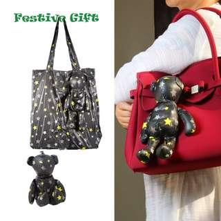 🚚 Festive Gift Suggeston: Foldable Shopping Bag in Bear (Black /yellow stars)