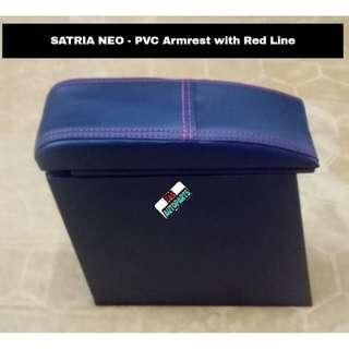 SATRIA NEO PVC CAR ARMREST CONSOLE BOX with RED LINE